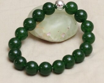 Green Jade Bracelet. Stretch Bracelet