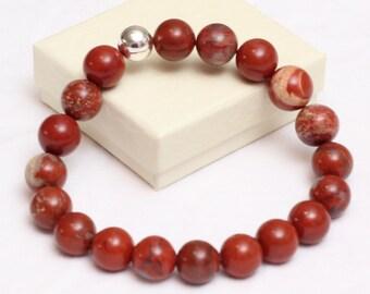 Red Jasper Bracelet, Stretch Bracelet