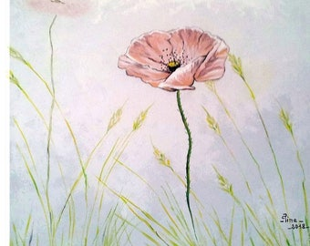 Acrylic painting on canvas, pink poppy, Brittany
