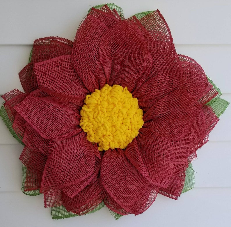 Flower wreath front door decor  red flower  curb appeal summer decoration fireplace mantle decoration housewarming gift farmhouse cranberry