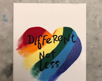 Different Not Less (rainbow heart )