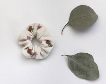 Mini hand embroidered creme scrunchie