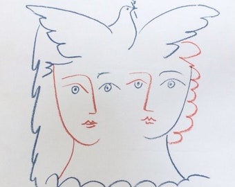 """Lithograph Pablo Picasso """" 2 women with the dove """" 6.10.56 / art / 50s / France / artist / Mid-Century / XXth century"""