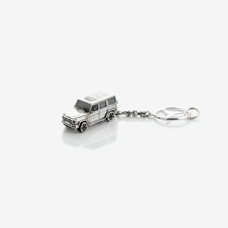 Extremely Miniature Mercedes Benz Keychain Sterling Silver Mercedes Benz G Wagen Keychain