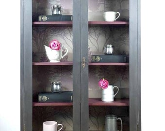 NOW SOLD - Hand painted vintage graphite grey display cabinet