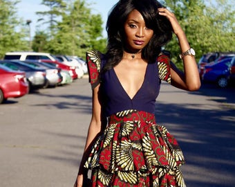 fdee710965e African Print Plunge Neckline Dress- Ankara Flare Short Dress- Ankara Print  - African Dress - Handmade - Africa Clothing - African Fashion