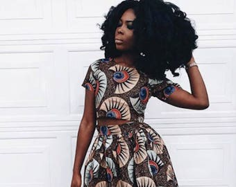 e7153e7d51b African Print Crop top and Flare Skirt - Ankara Print - African Dress - Two  Piece Outfit - Handmade - Africa Clothing - African Fashion