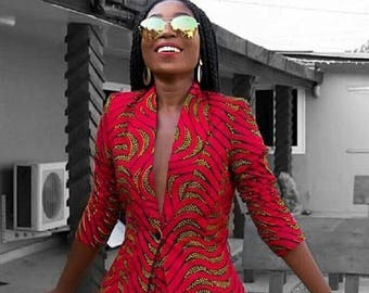 a2a6dc3665f2c African Print Blazer Jacket with Shorts - Ankara Print - African Dress - Two  Piece Outfit - Handmade - Africa Clothing - African Fashion