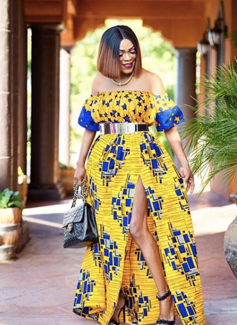 471655bebbf African Print Maxi Dress Sleeveless with High Slit Kente