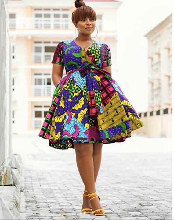 African Print Wrap Dress Flare Dress Ankara Ankara Print
