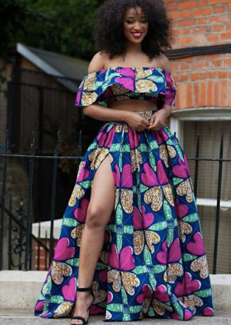 c8edf220ef6 African Print Maxi Skirt with High Slit and Flair Crop Top