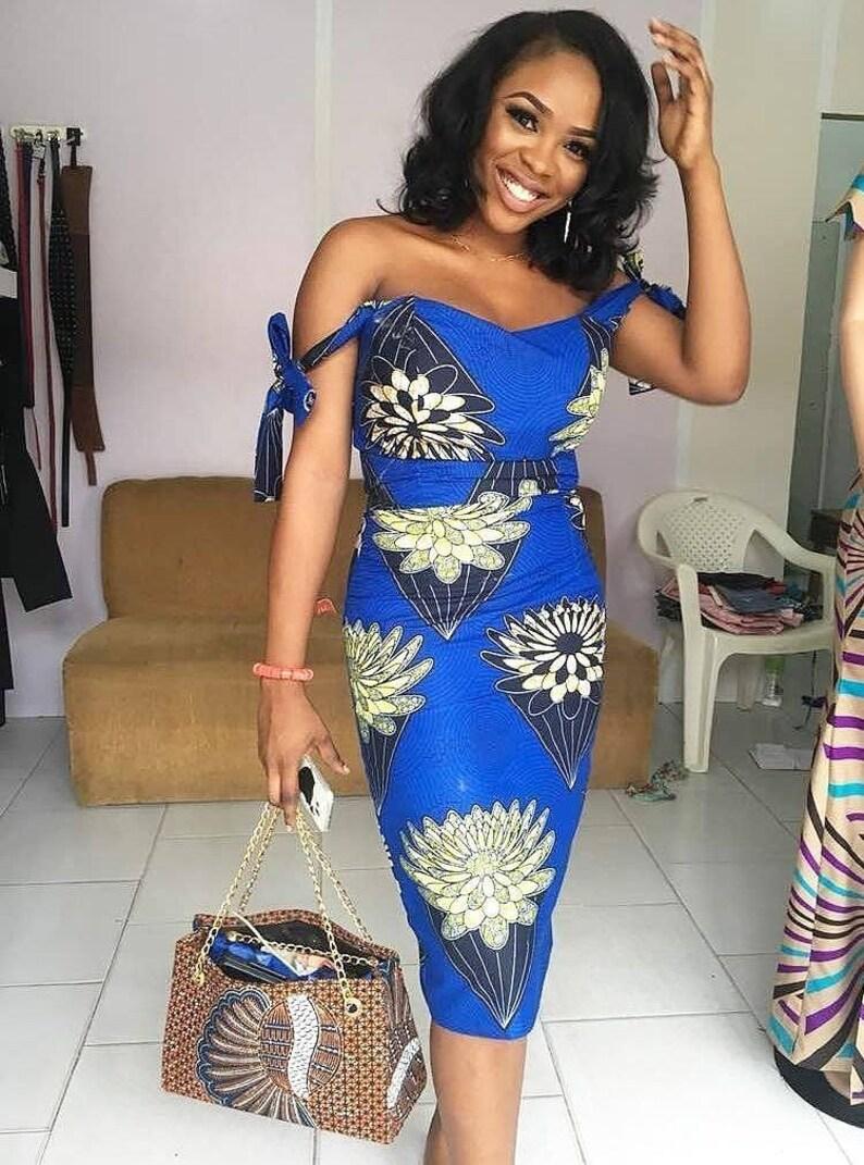 41b2f14edb0 African Print Midi Dress Off Shoulder Dress Ankara Ankara