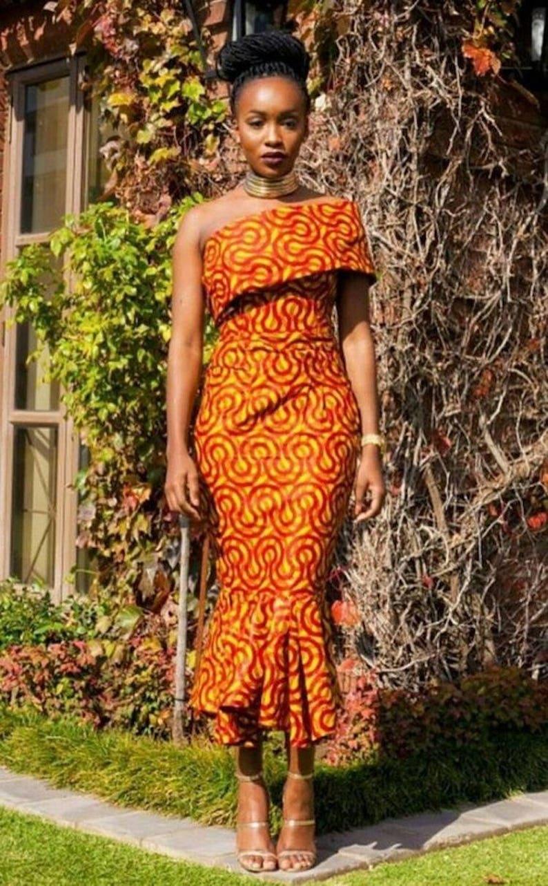 0a192059474c African Print Off Shoulder Dress Ankara Midi Dress   Etsy
