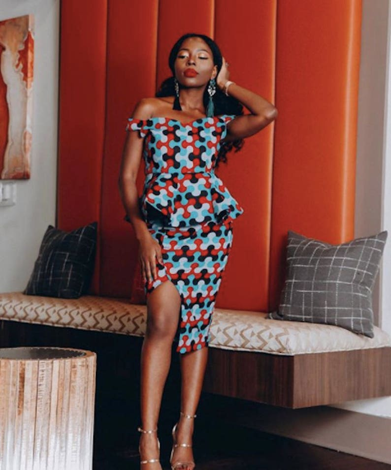 1ec4d56d1b4 African Print Midi Dress Off Shoulder High Slit Peplum