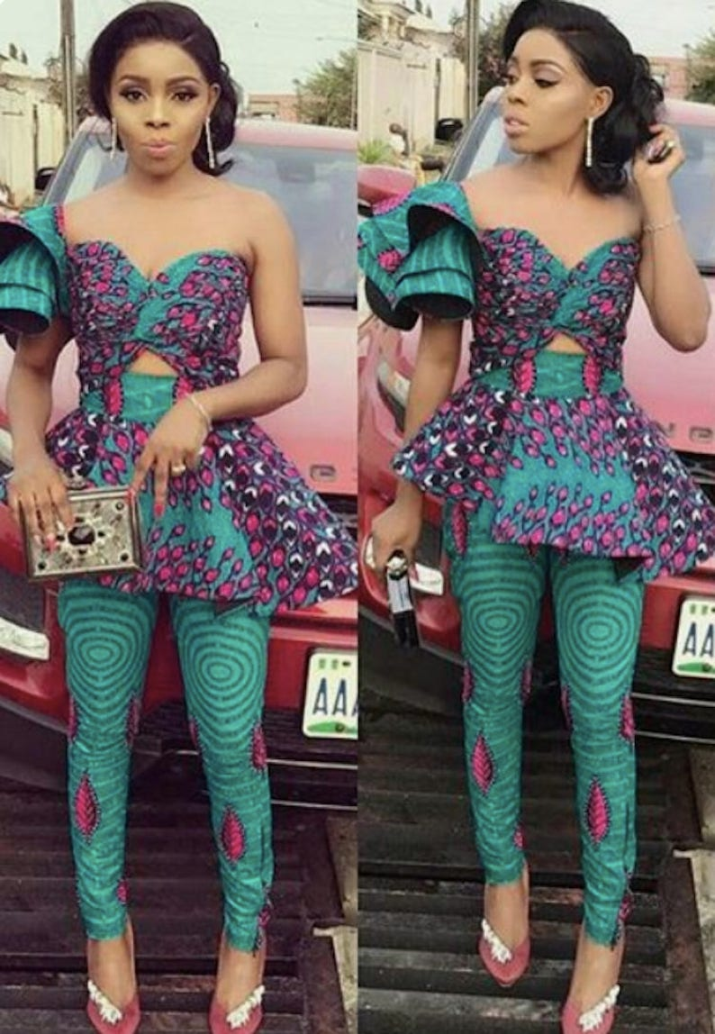 85262987892 African Print Jumpsuit with Triple Flare One Sleeve Ankara