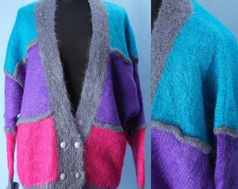80s oversized cardigan CASCADE Exclusive Knitwear from the 80s. Vintage women's wool mohair double-breasted cardigan. Size L oversize