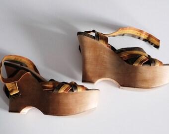 b067012882a3 Jeffrey Campbell handmade hippie wood and leather platforms 60s -70s boho sandals  wooden platform