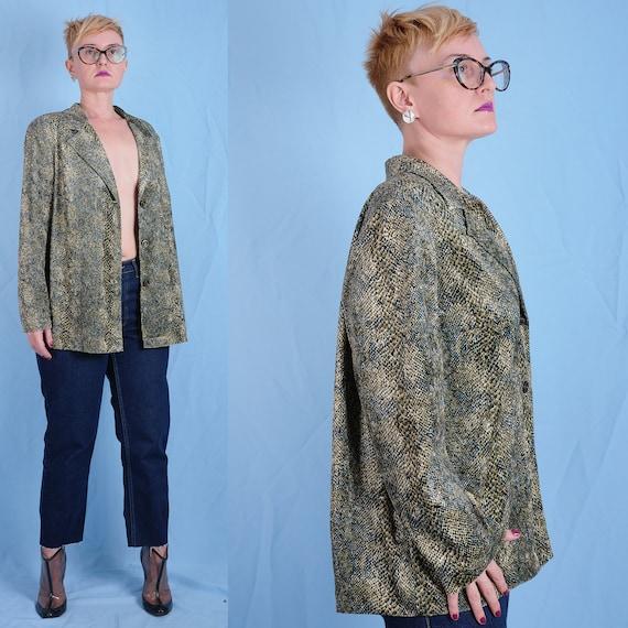 90s/2000s snake pattern women's blouse. Vintage ov