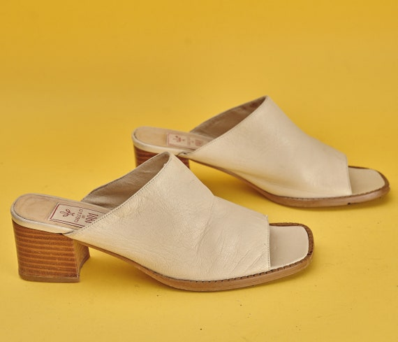 90s square toe block heel mules CABLE & CO 1901. V