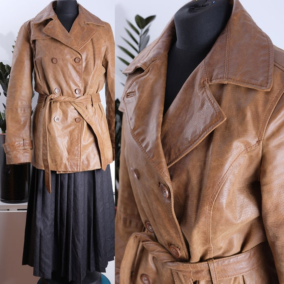 90s double-breasted leather coat women's 90s and 2