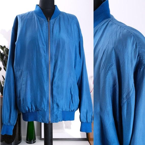 90s unisex silk bomber jacket by Rei. Vintage silk