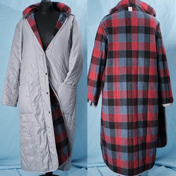 80s / 90s  workwear coat. Vintage grey long oversi