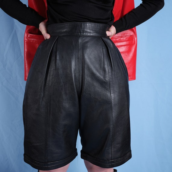 90s leather high rise women's shorts. Vintage wome