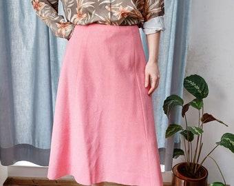 Half circle skirt, vintage handmade skirt pink 70s