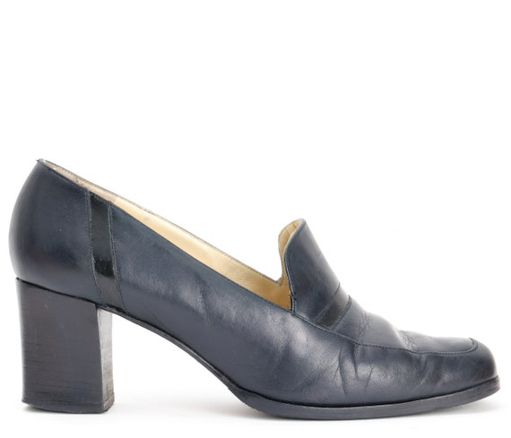 UK size 5.5 Vintage 1980/'s Russell and Bromley Navy Chunky Heel Loafer