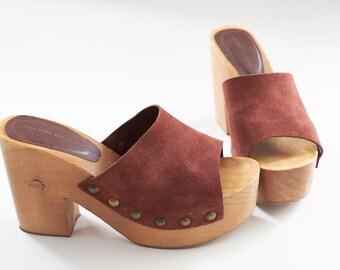 Hippie wood and leather platform 6-7 boho sandals wooden platform leather sandals  brown leather