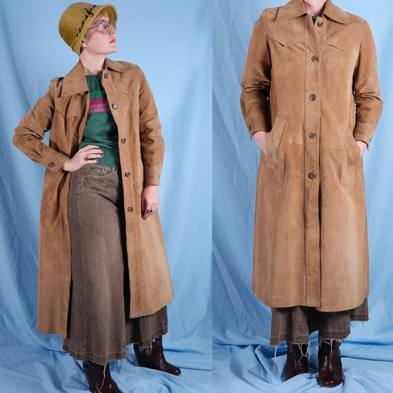 70s oversized leather nubuck coat. Vintage women's