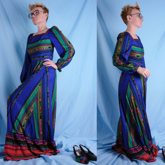 70s Dress by Horrockses Fashions. Vintage neon col