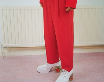 Vintage glam bright red trousers