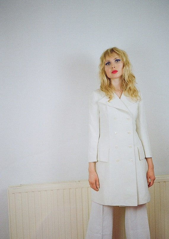 1970s Vintage White Wide Lapels Double Breasted Long Jacket   Small Size   Uk 8 Eu 36   Glam Disco Seventies by Etsy