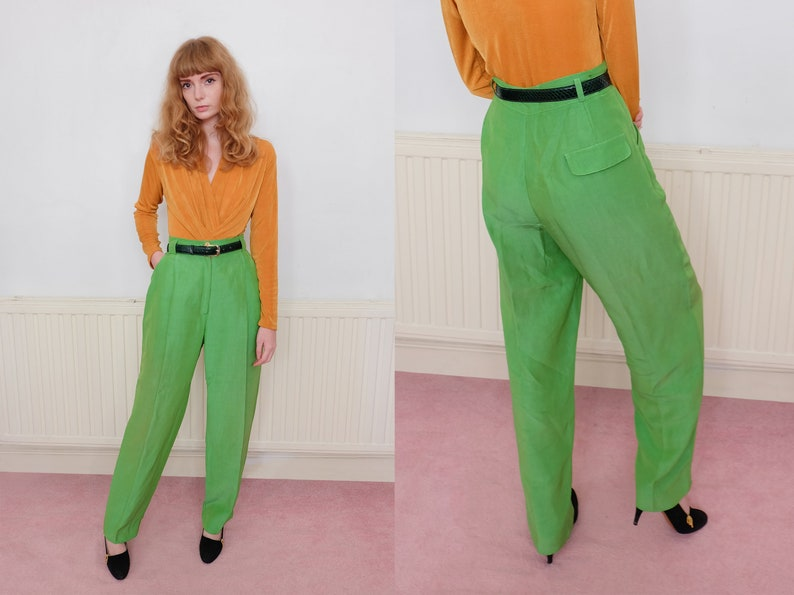 6eefe639743 Vintage 80s Bright Green High Waisted Trousers