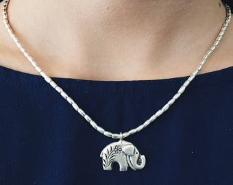 SALE - Elephant Silver Necklace, Beaded Silver Necklace, Elephant Necklace, Silver Necklace, Pendants Necklace, Sterling Necklace, Gift