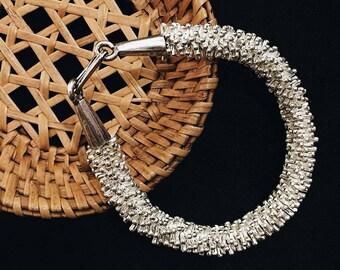 Special Silver Beaded Bracelet, Silver Bracelet, Beaded Bracelet, Flower Bracelet, Simple Bracelet, Delicate bracelet, Dainty bracelet