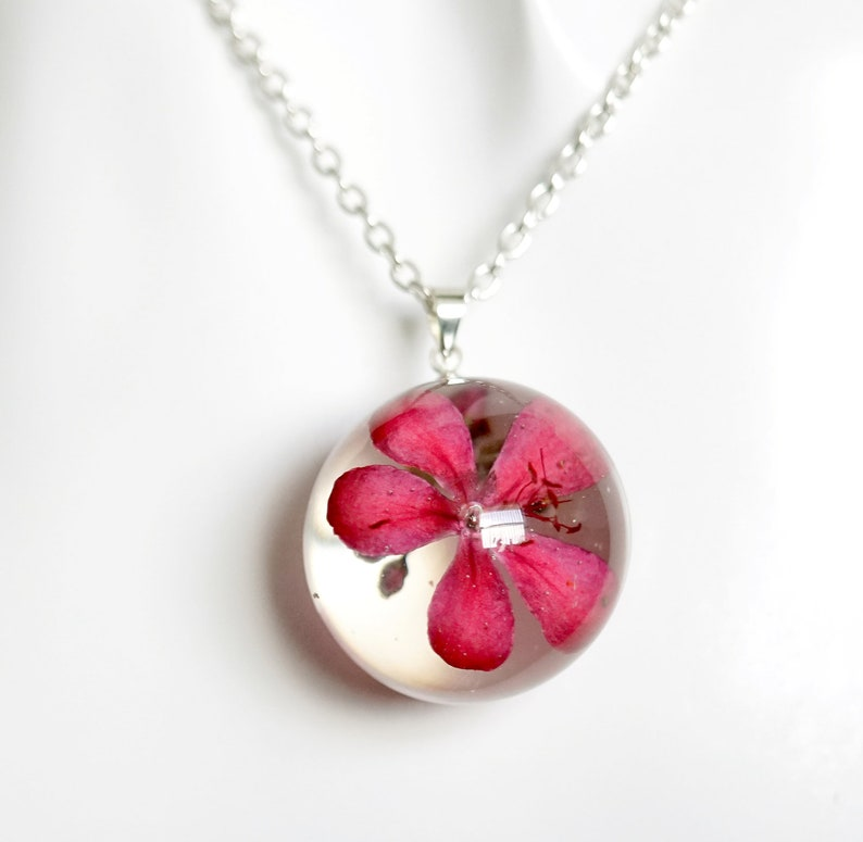 Fashion Transparent Crystal Necklace Resin Dried Flower Women Pendant Jewelry UK