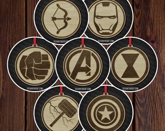 Handmade Wooden Christmas Ornaments Avengers Captain America Hawkeye Iron Man Thor The Hulk Black Widow Custom Personalize