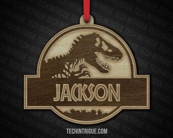Dinosaur Ornament Customized Name Trex Velociraptor Triceratops Brachiosaurus Pterodactyl Stegosaurus Jurassic World Jurassic Park Christmas