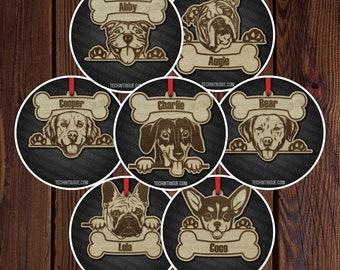 Custom Dog Christmas Ornament - Bully - Dog Ornament - Wooden Ornament - Personalized - Laser Cut - Golden - Pug - Boxer Rescue Dog Ornament