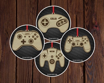Video Game Controller Wood Ornament Laser Engraved Unique Gift Personalize Xbox Playstation Nintendo 64 Sega Gaming