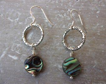 Paua Shell Dangle Earrings With Sterling Silver Earwires