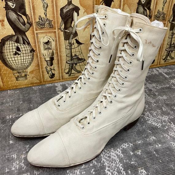 1910s Edwardian White Canvas Antique Boots Vintag… - image 2