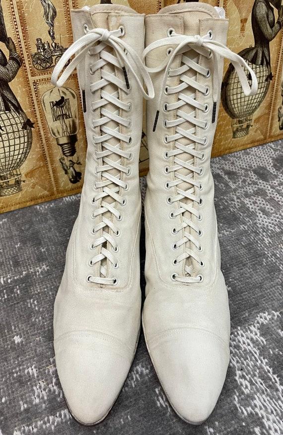 1910s Edwardian White Canvas Antique Boots Vintag… - image 5