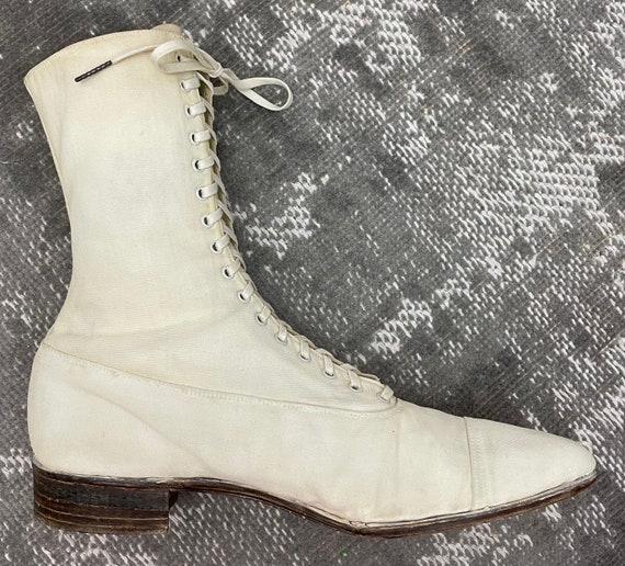 1910s Edwardian White Canvas Antique Boots Vintag… - image 4