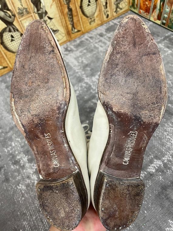 1910s Edwardian White Canvas Antique Boots Vintag… - image 8