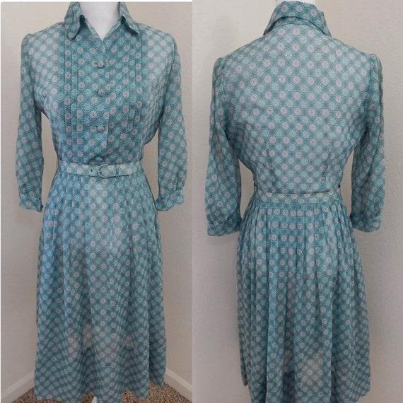1950s True Vintage DRESS~Sheer Blue/Green Organza