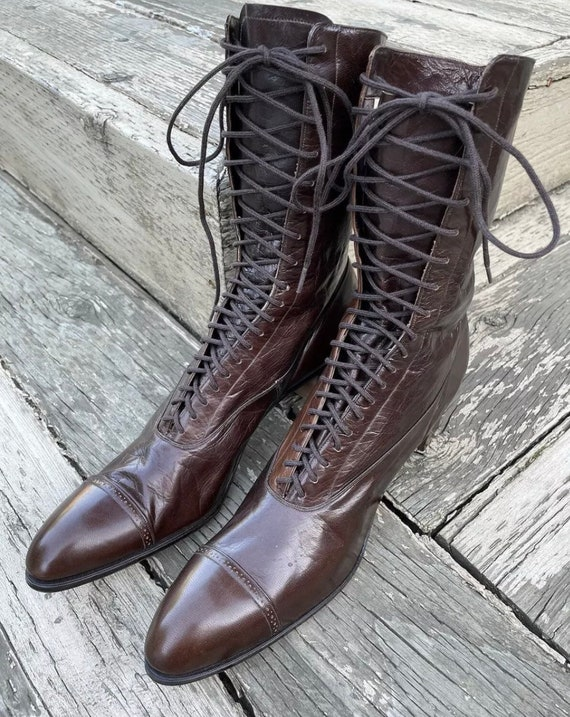 1910s True Antique Edwardian Granny Boots Brown L… - image 1