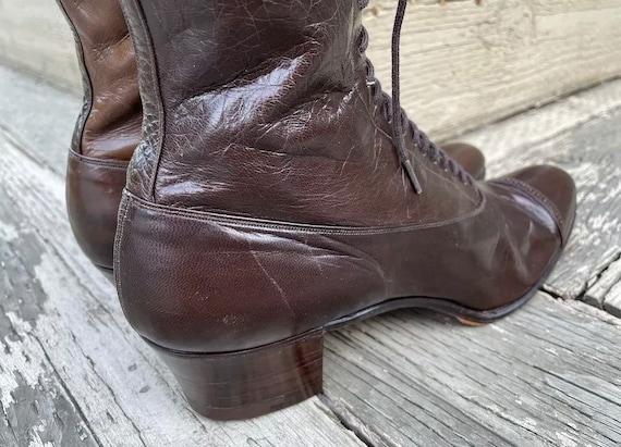 1910s True Antique Edwardian Granny Boots Brown L… - image 7